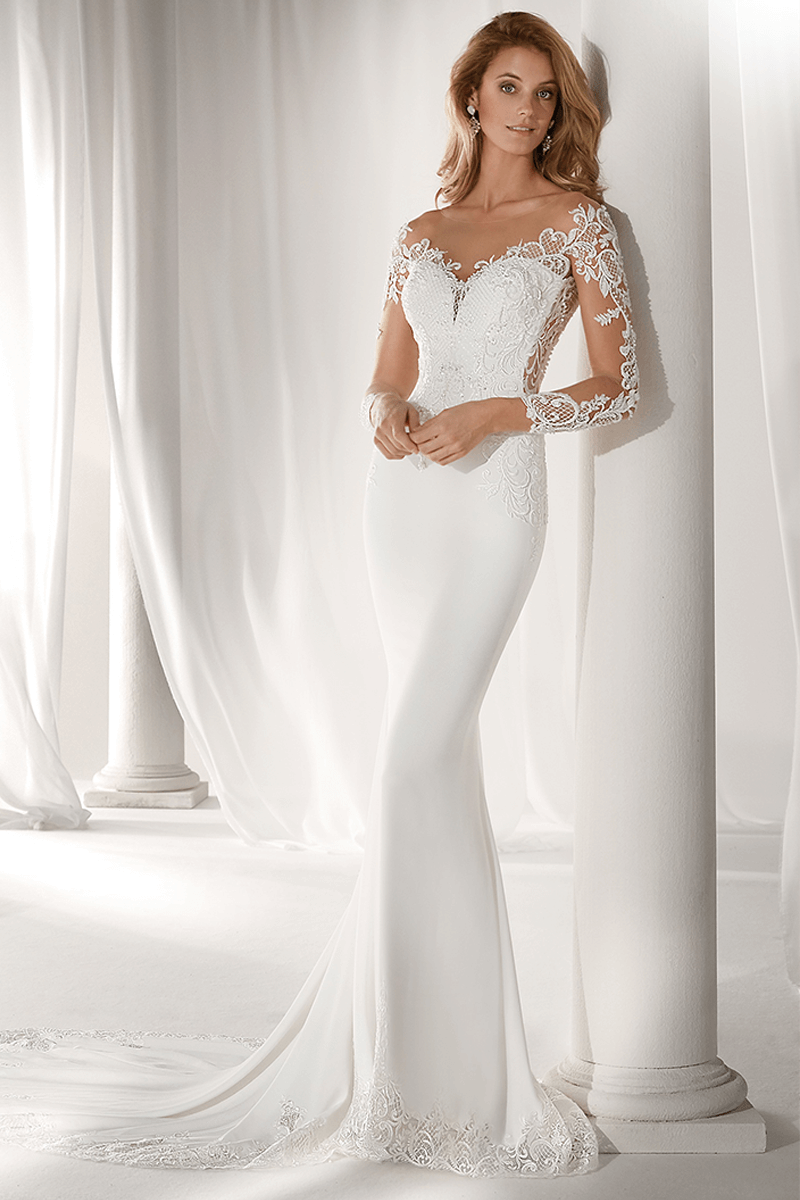 b3614e61594de Sweetheart spandex tight mermaid wedding gown with lace sleeves ...
