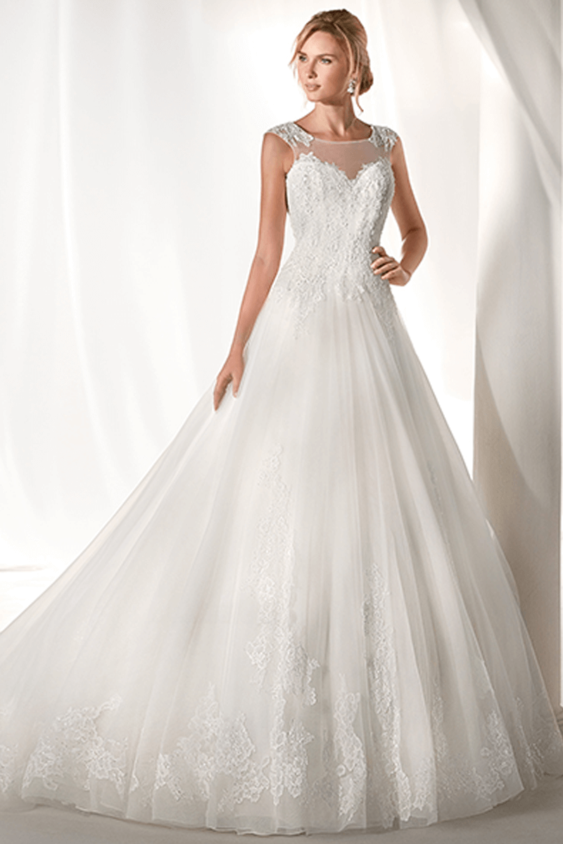 Illusion sweetheart lace wedding gown with tail | Bycouturier