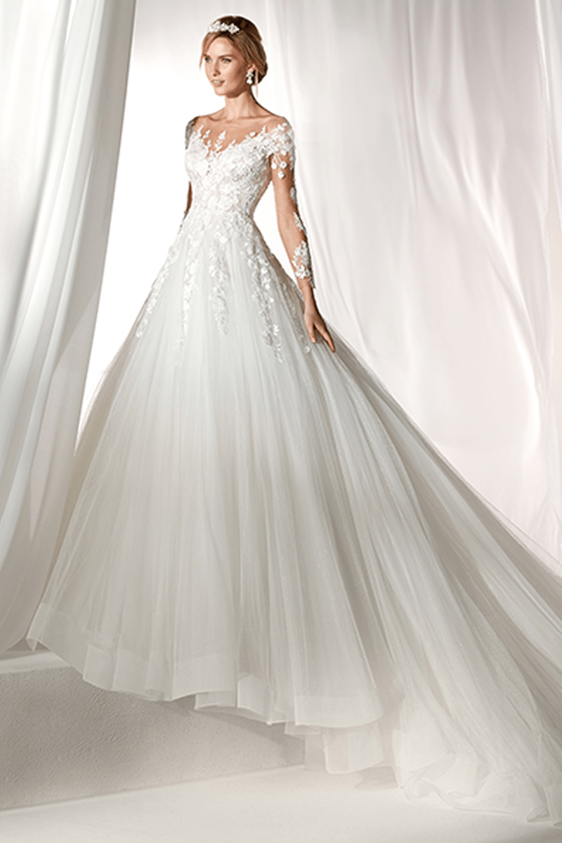 Sleeves lace A-line wedding gown with tail | Bycouturier