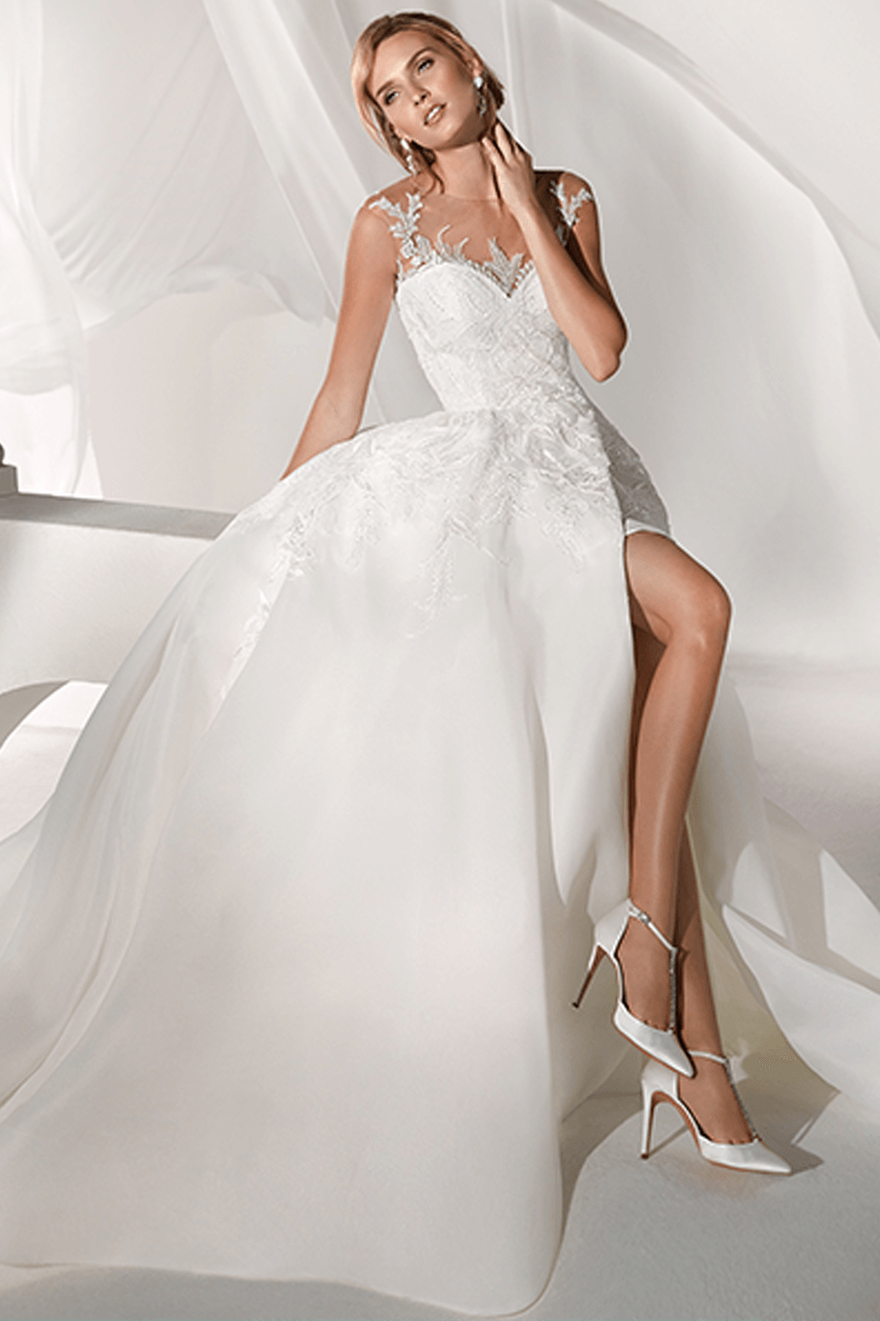 Illusion Sweetheart Ball Gown Bridal Dress with Open Skirt | Bycouturier