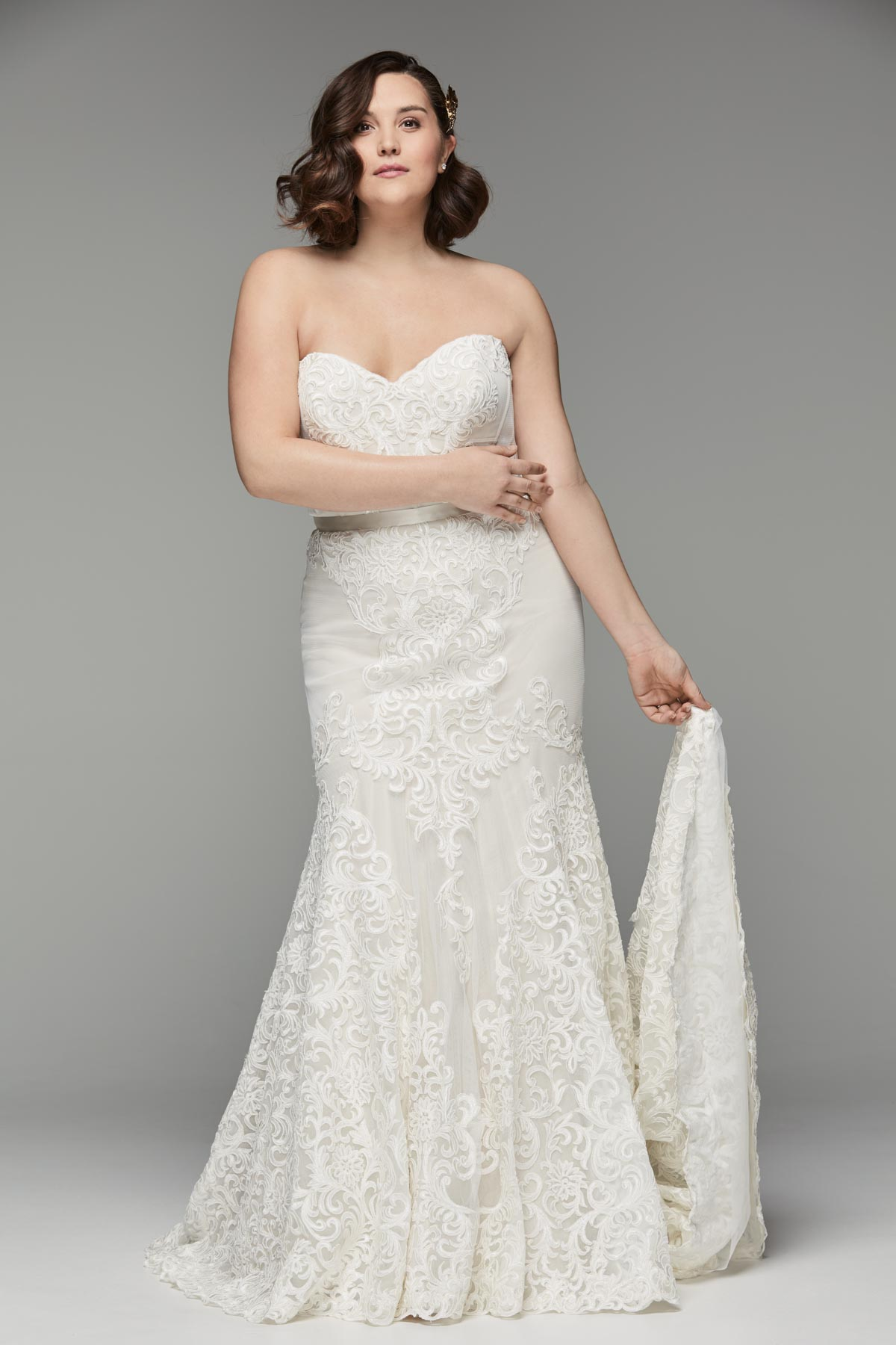 Strapless Backless Lace Hem Wedding Dress Bycouturier