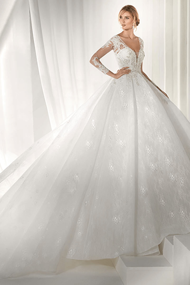 Long Sleeves Deep V-Neck Ball Gown Wedding Dress | Bycouturier