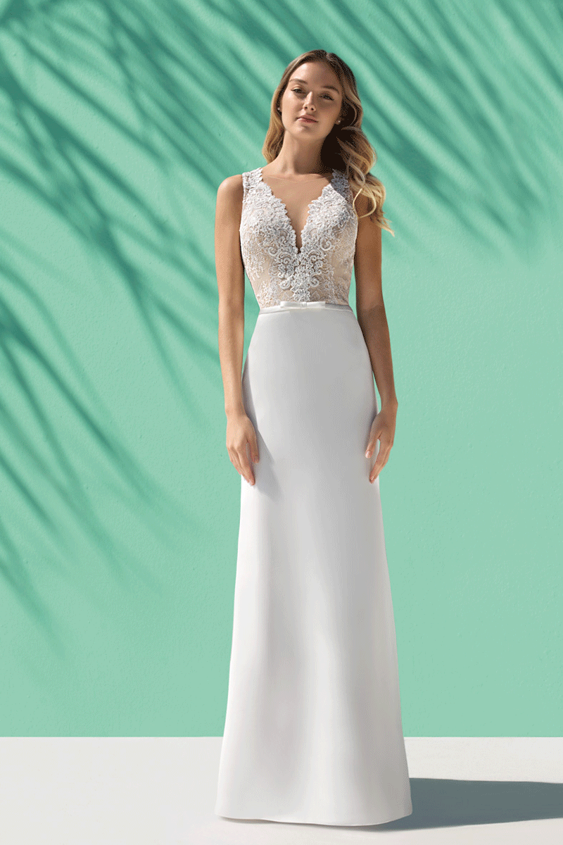 Lace illusion v neck sheath wedding dress | Bycouturier