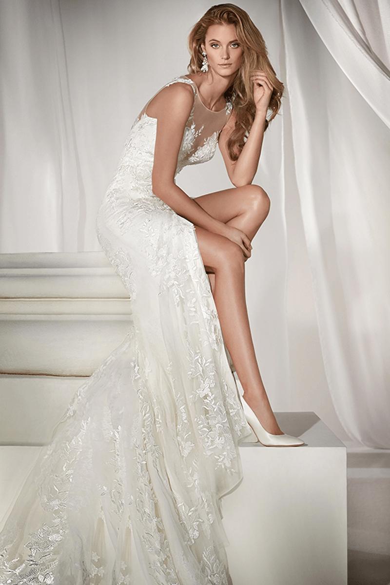 Illusion V Neck Mermaid Bridal Dress With Open Skirt