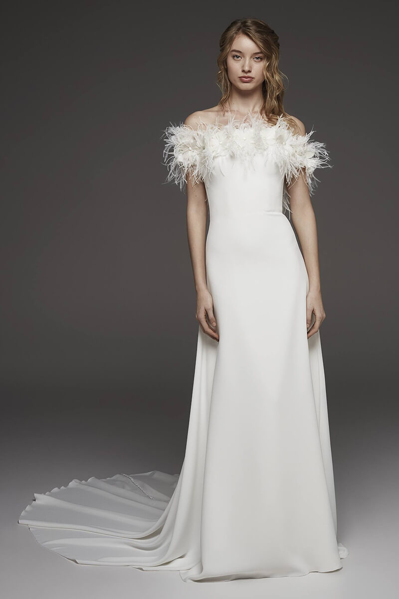 A-line off-the-shoulder feather wedding dress | Bycouturier