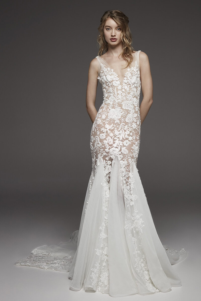 Lace beaded long train mermaid wedding dress   Bycouturier