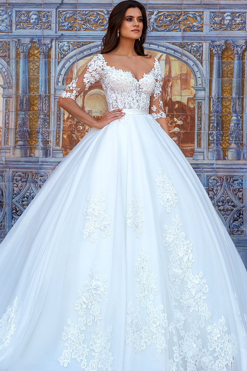 3/4 Sleeves Lace Wedding Dress | Bycouturier