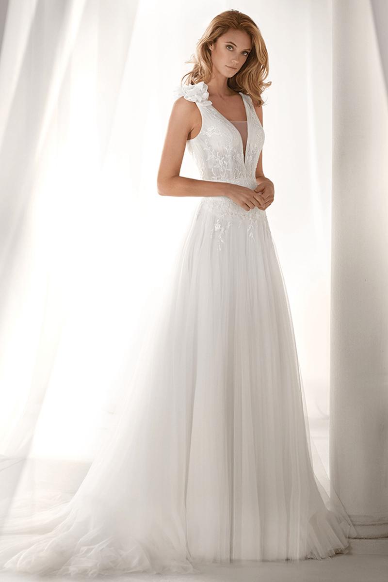 Deep V-Neck A-Line Wedding Dress with Flower on the Shoulder ...