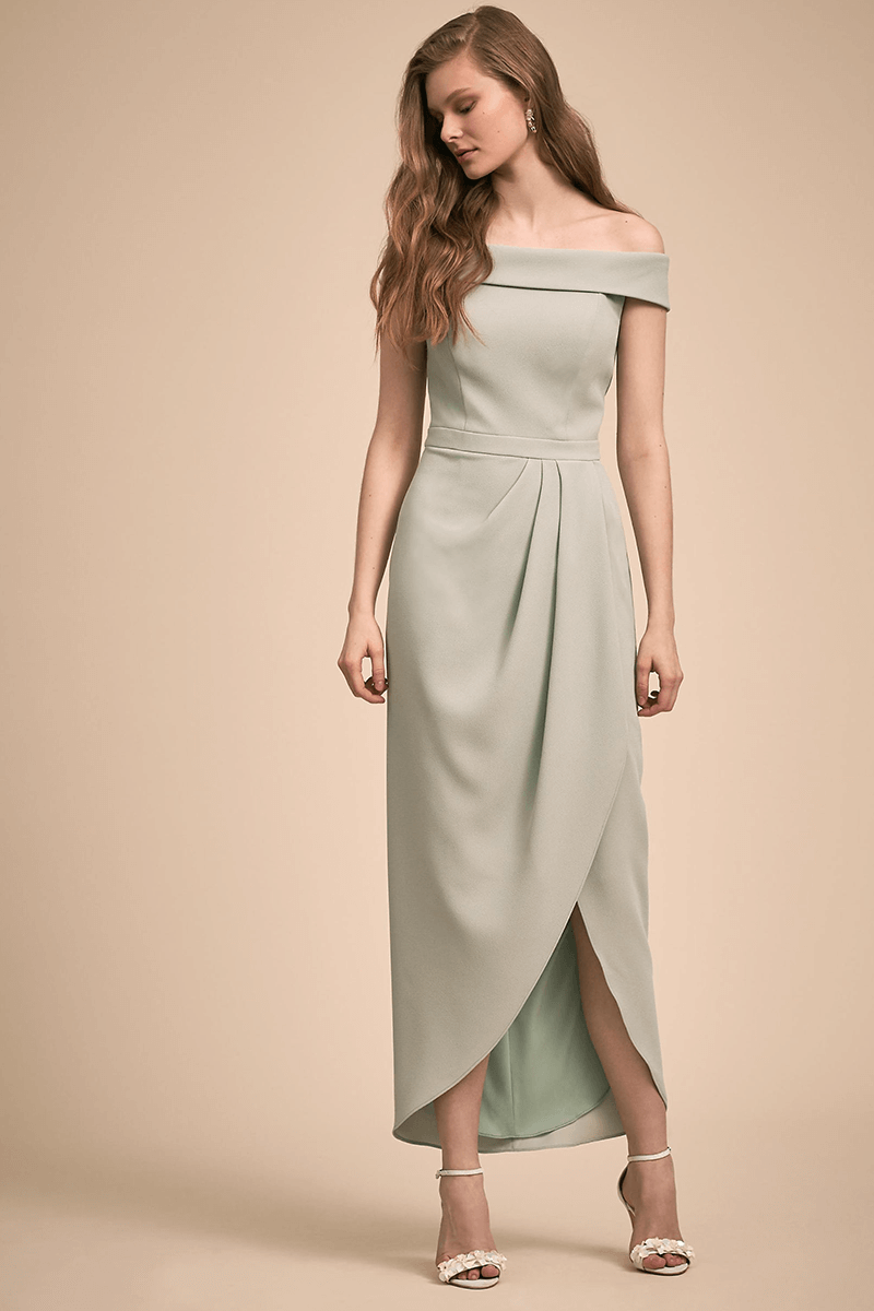 8feeb1306996 Chiffon off-the-shoulder bridesmaid dress with slit | Bycouturier