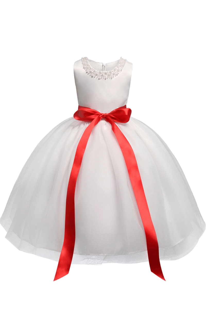 White Satin Scoop Flower Girl Dress With Red Bow Tie Bycouturier