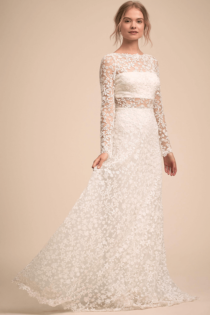 A Line Applique Long Sleeved Wedding Dress Bycouturier