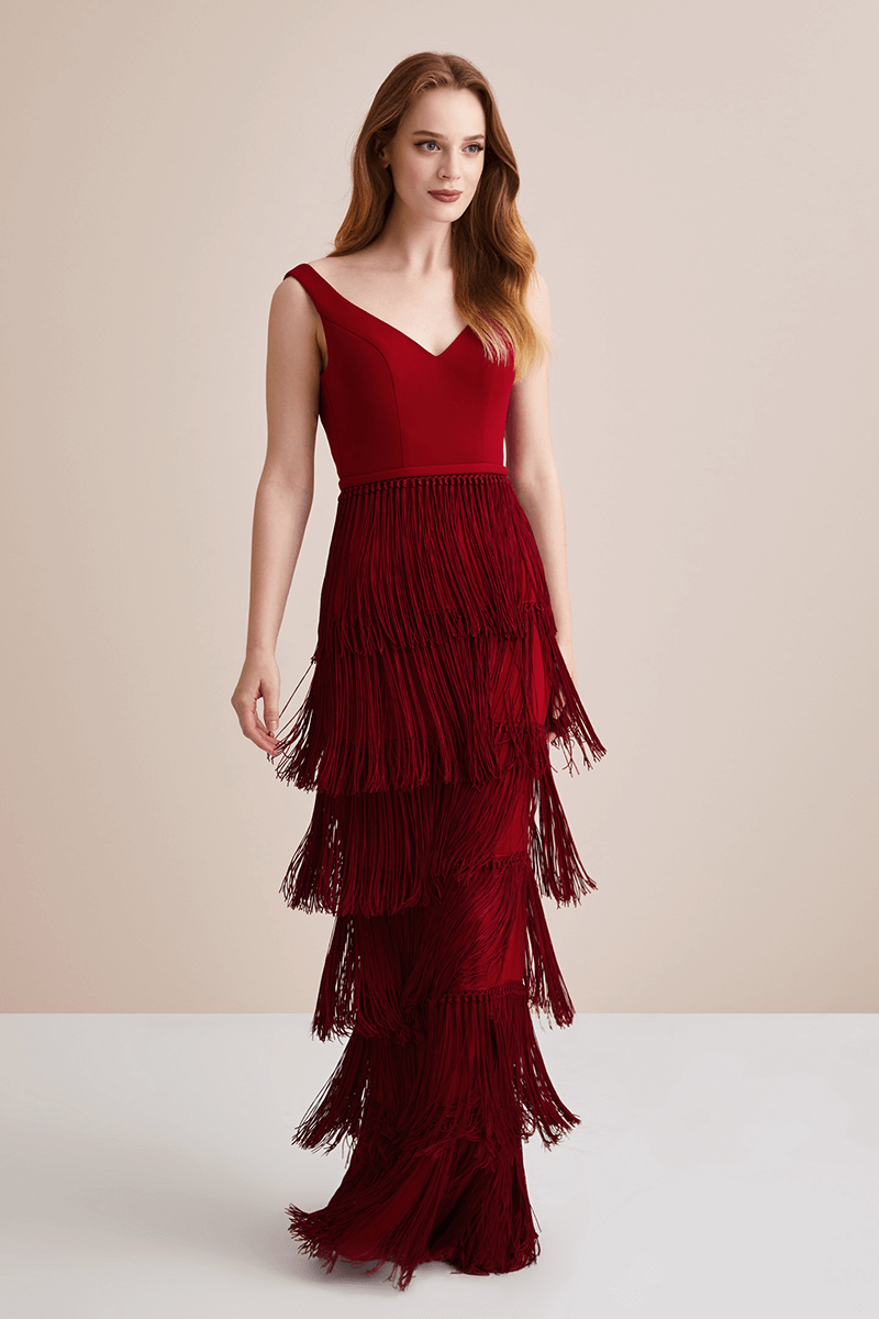 Red Fringe Evening Dresses
