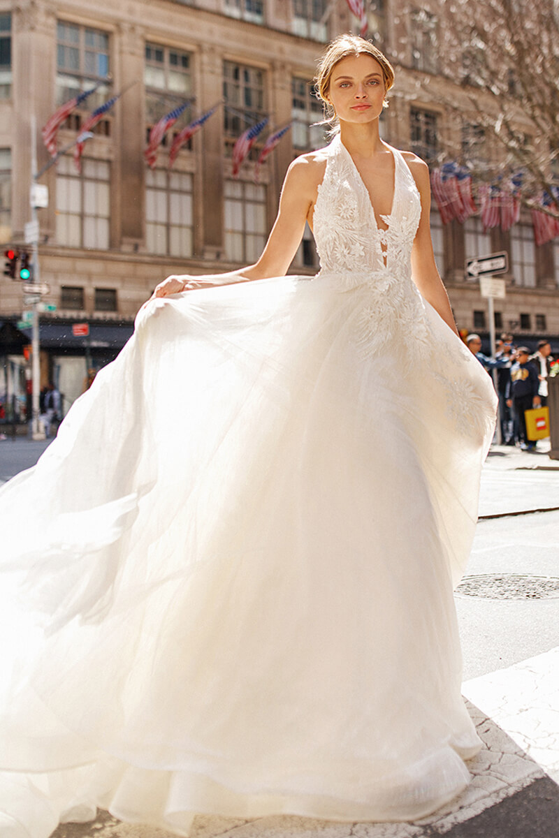 Ball Gown Halter Embroidery Wedding Dress Bycouturier