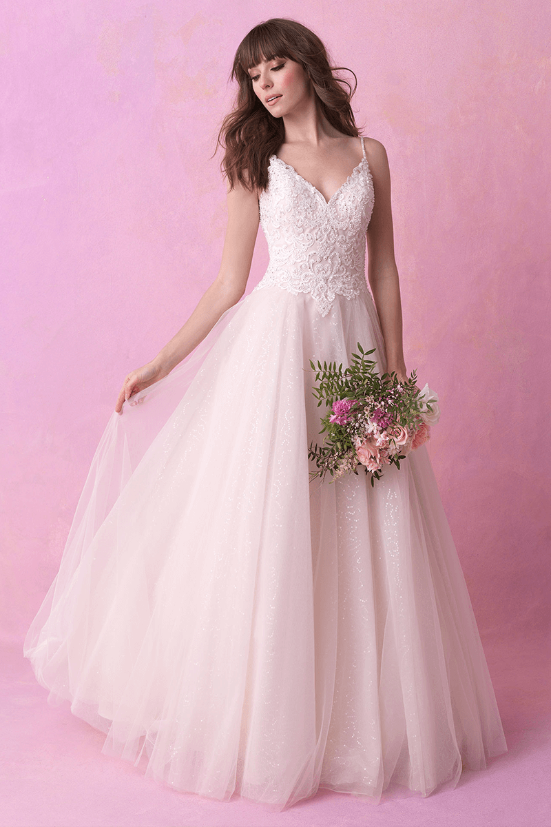 A line beaded tulle bridal gown | Bycouturier