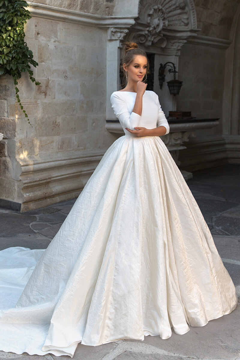 Ball gown long sleeved wedding dress | Bycouturier