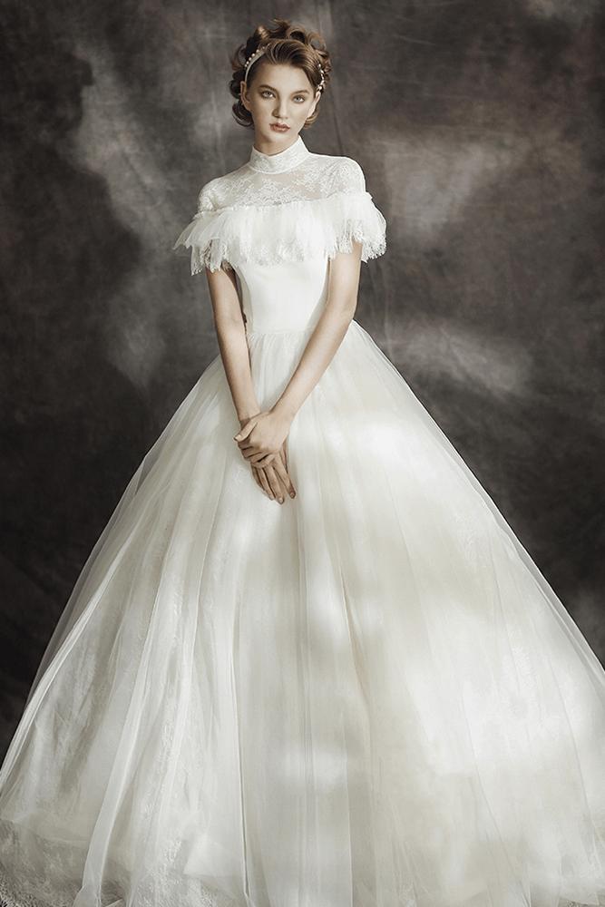 Ball Gown High Collar Wedding Dress Bycouturier