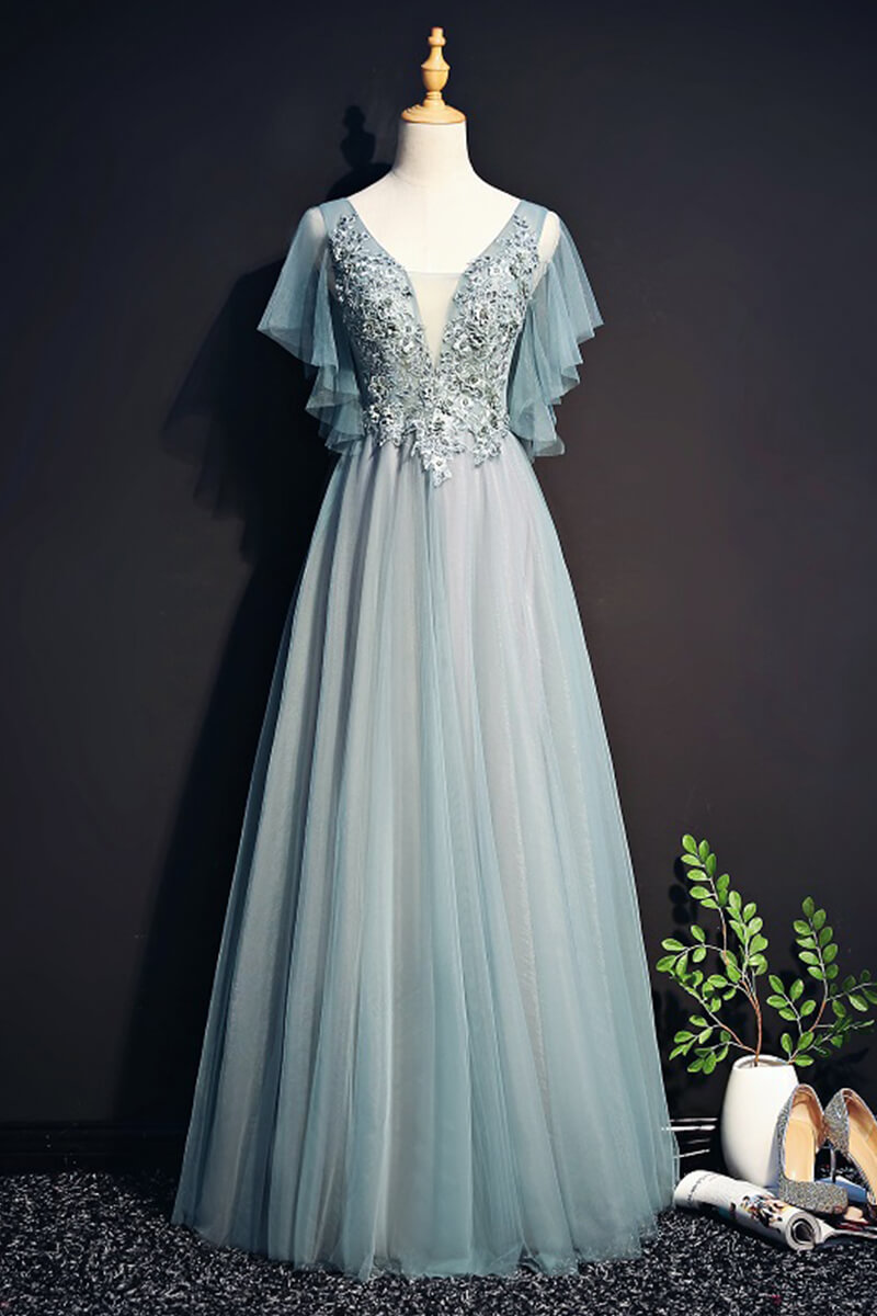 ac959e143b9 A line tulle ethereal sleeved evening dress
