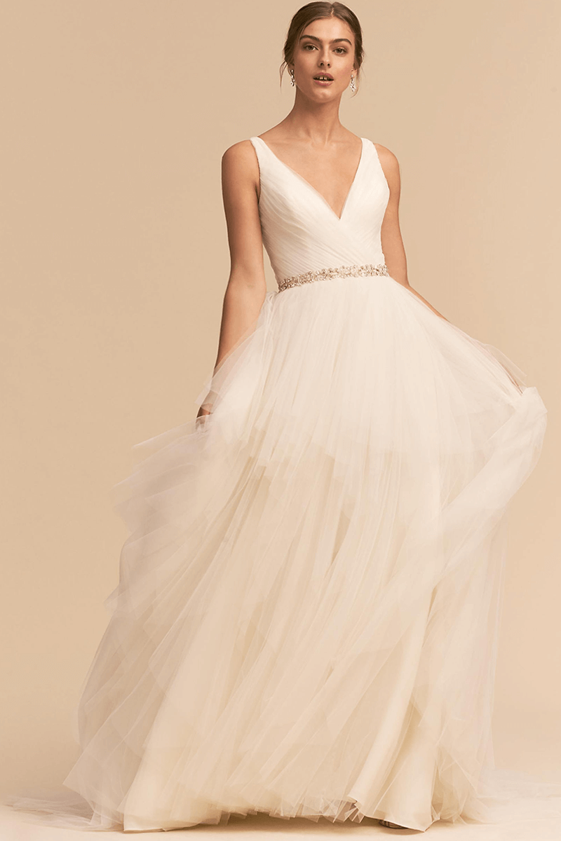A line tulle v neck wedding dress | Bycouturier
