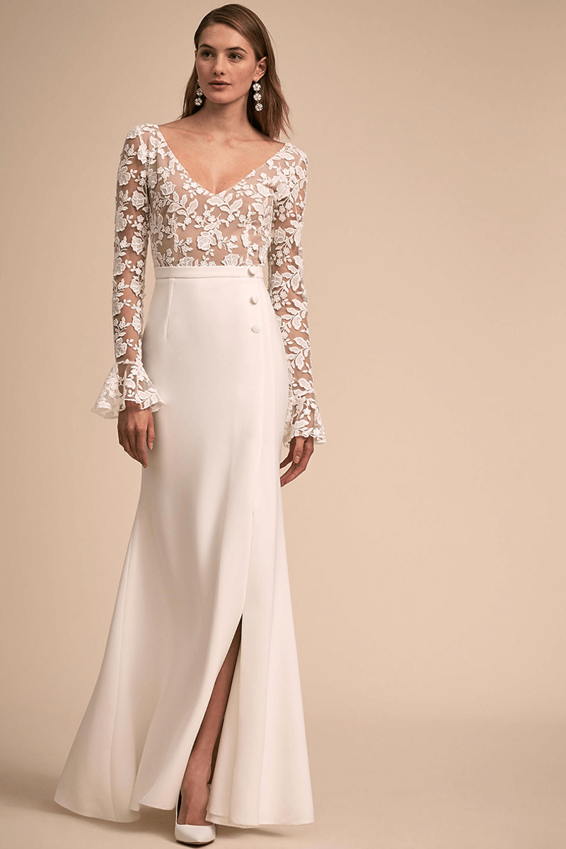 A Line Illusion Long Sleeved Bridal Wedding Dress Bycouturier