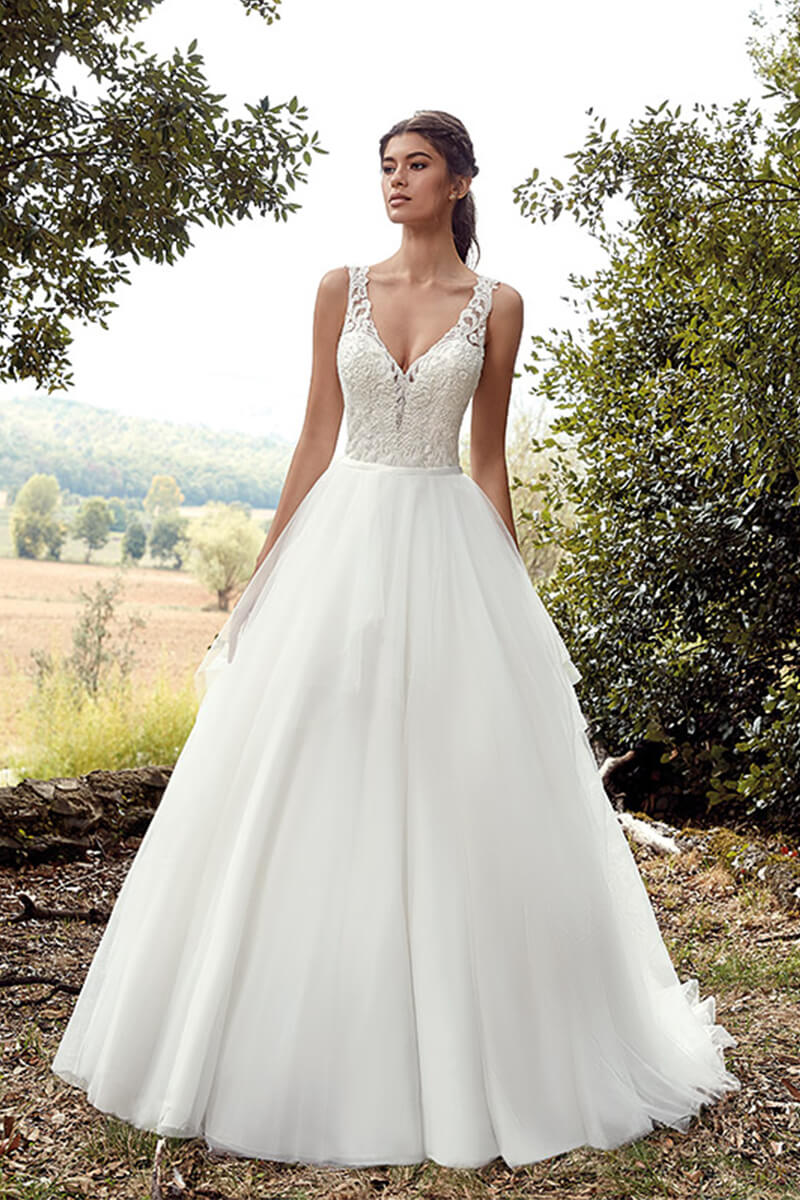 Ball gown lace bustier wedding gown   Bycouturier