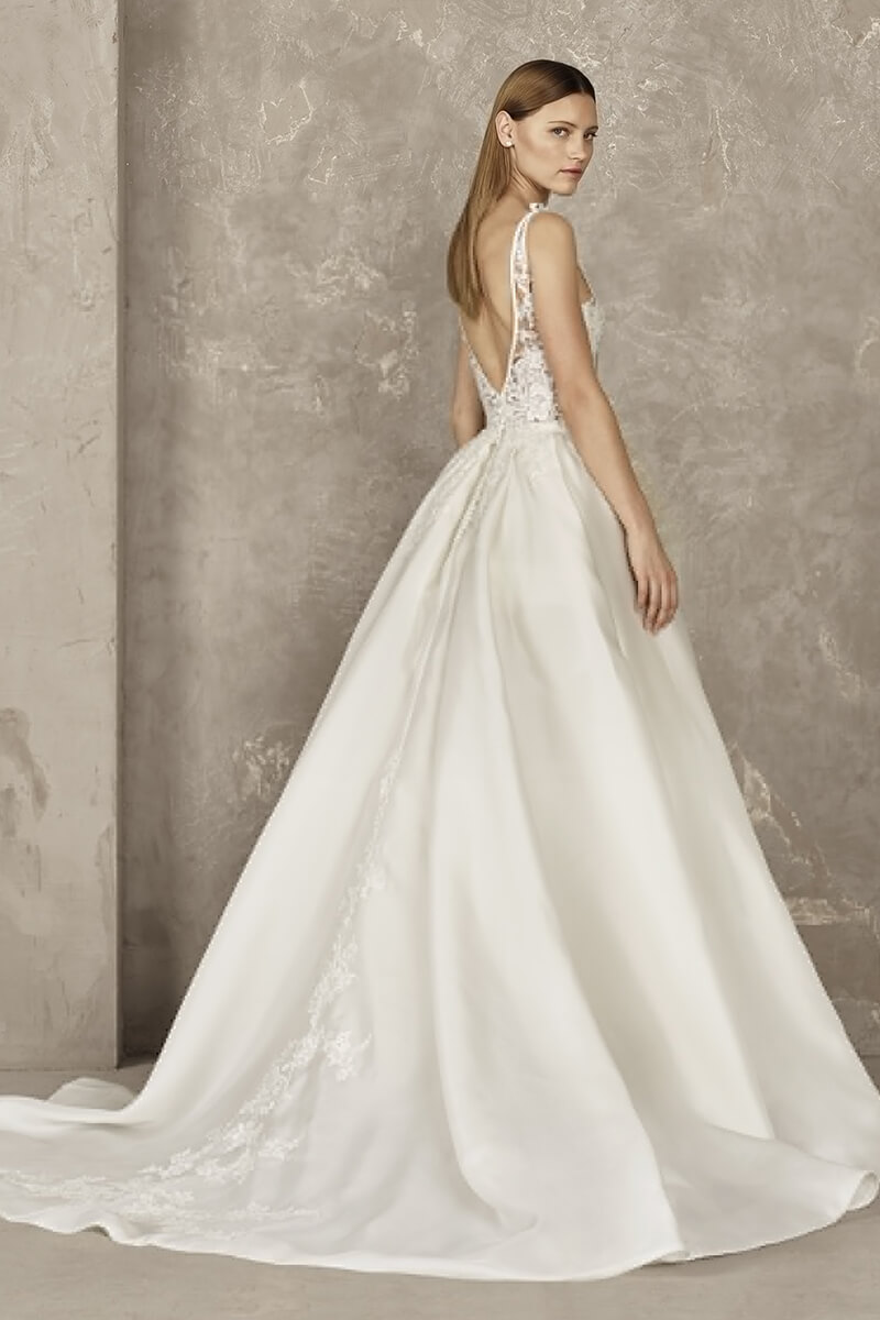 Ball Gown Plunge V Neck Wedding Dress Bycouturier
