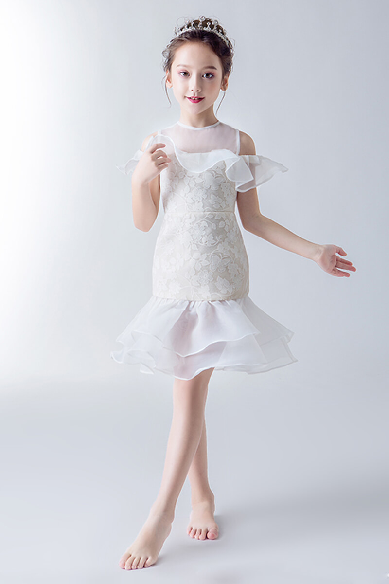 ea28480df Illusion neck trumpet flower girl dress | Bycouturier