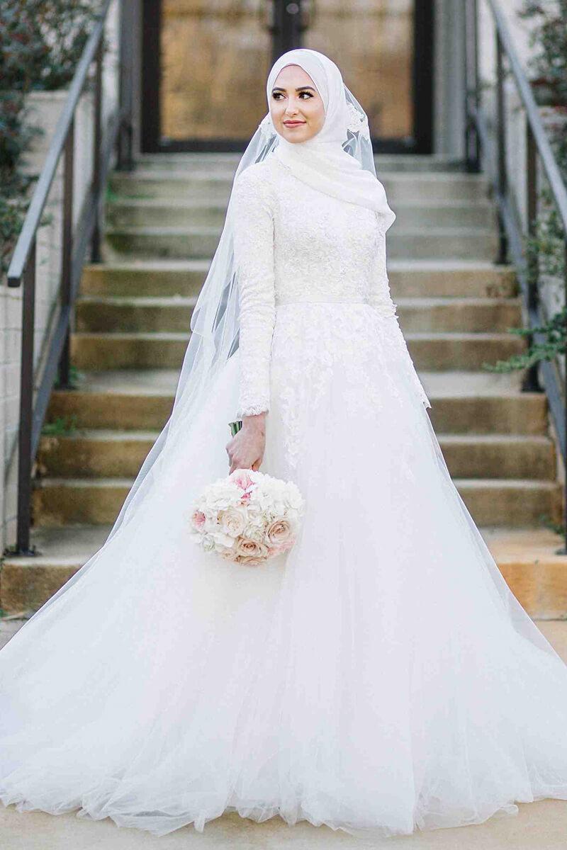 Lacy bodice Muslim wedding gown