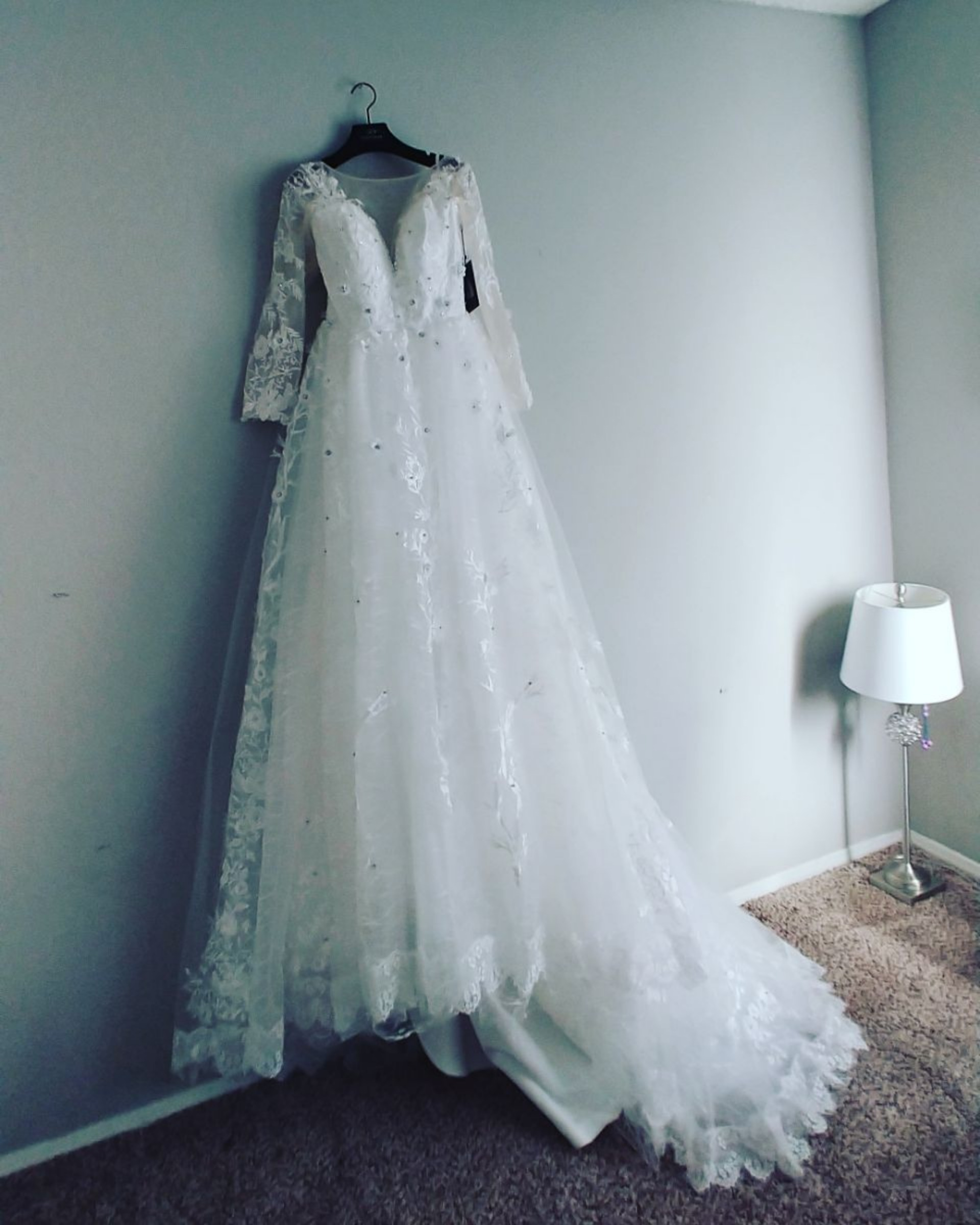 It's dress really beautiful. And like in pictures. Come with hangers and bag for dress. Really Thank you.....